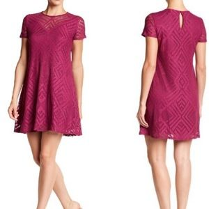 Maggy London purple lace shirt sleeve swing dress